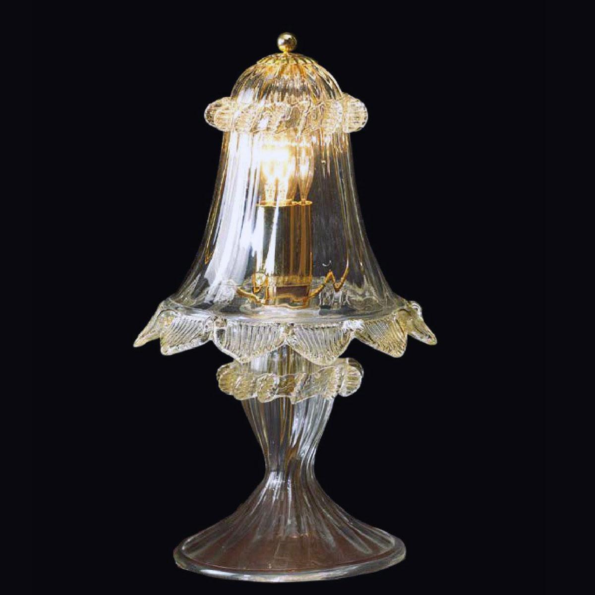 """""""Zoraida"""" lampara de mesita de noche de Murano - 1 luce - transparent y oro"""