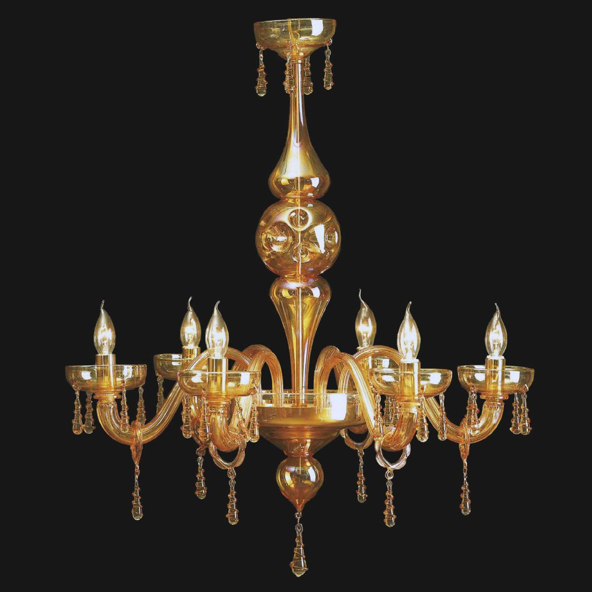 """""""Ramon"""" lampara de araña de Murano - 8 luces - ámbar"""