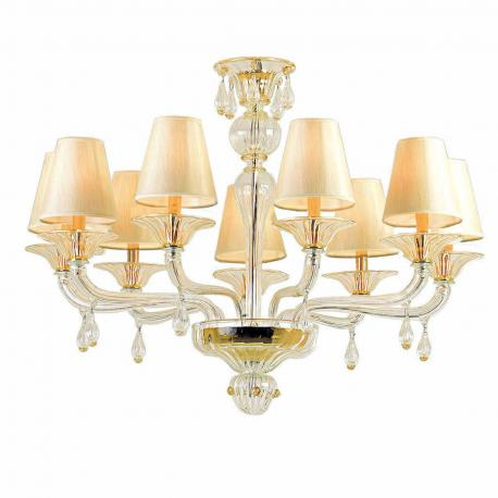 """Vernice"" Murano glass chandelier - 9 lights - transparent and gold"