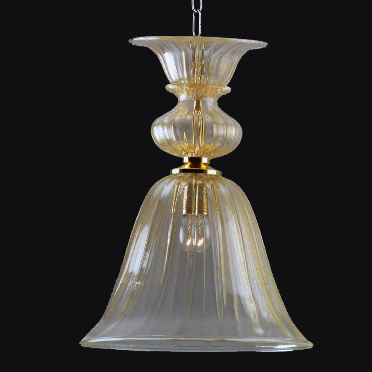 """Casimira"" Murano glass pendant light - 1 light - gold"