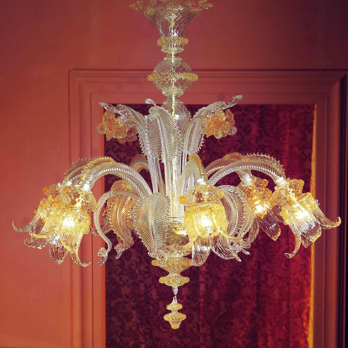 """""""Ellesse"""" lustre en cristal de Murano - 6 lumières - transparent et ambar"""
