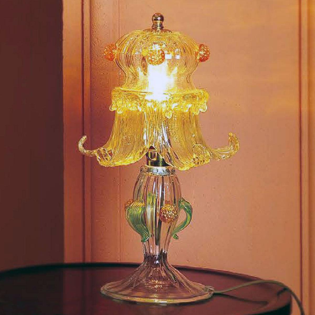 """""""Ellesse"""" lampara de mesita de noche de Murano - 1 luce - transparente, ámbar y oro"""