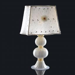 """Aish"" Murano glass table lamp - 1 light - white and gold"