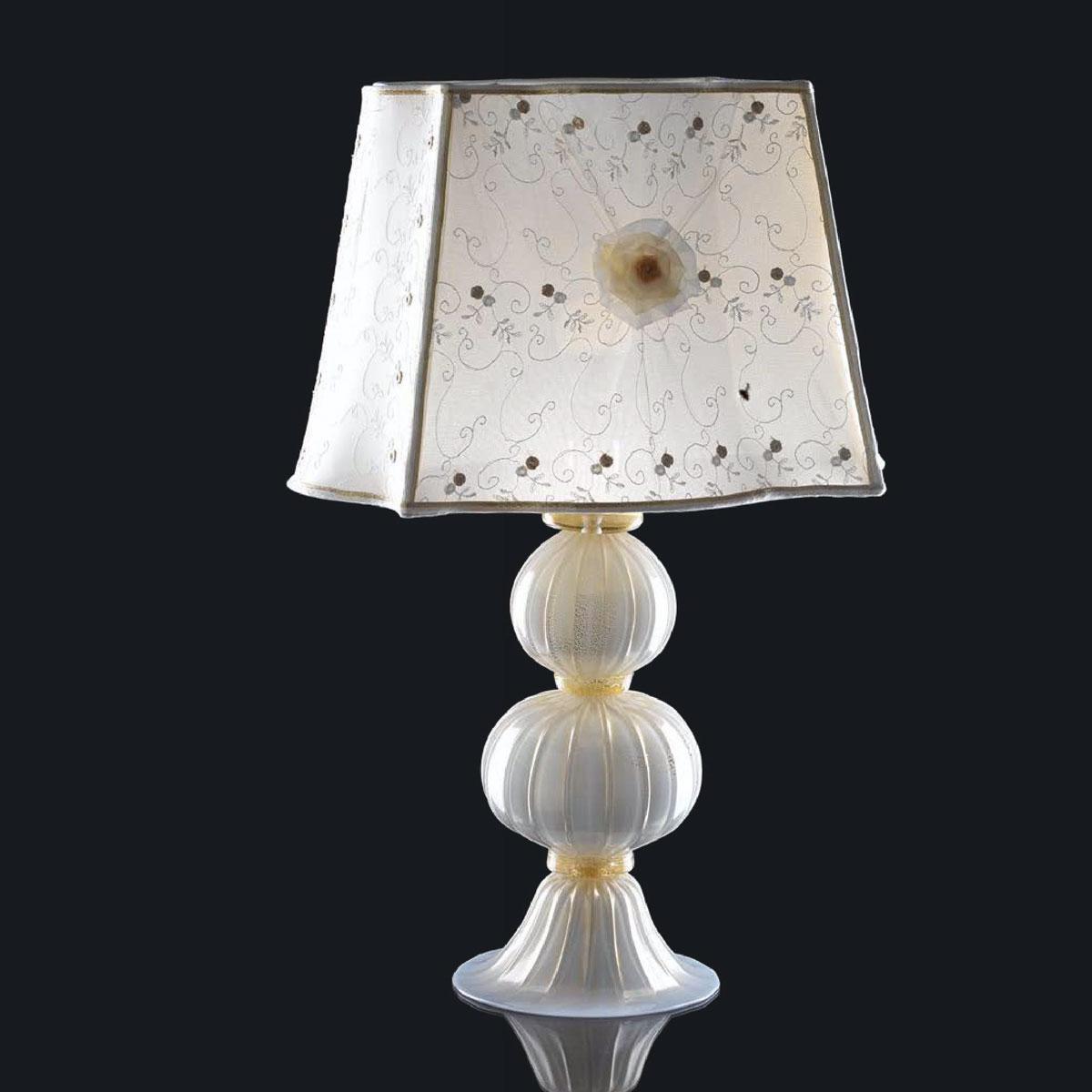 """""""Aish"""" lampe de table en verre de Murano - 1 lumière - blanc et or"""