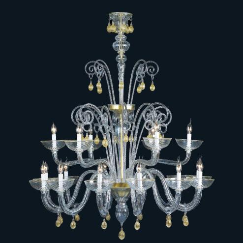 """""""Cassia"""" lustre en cristal de Murano - 12+6 lumières - transparent et or"""