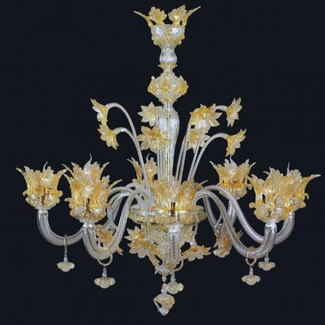 """Madeline"" Murano glass chandelier - 8 lights - transparent and gold"