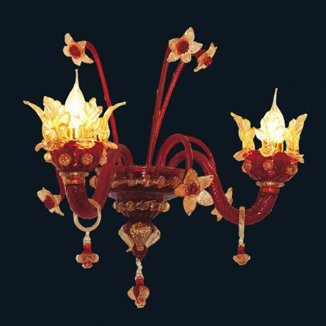 """Madeline"" Murano glass sconce - 2 lights - red and gold"
