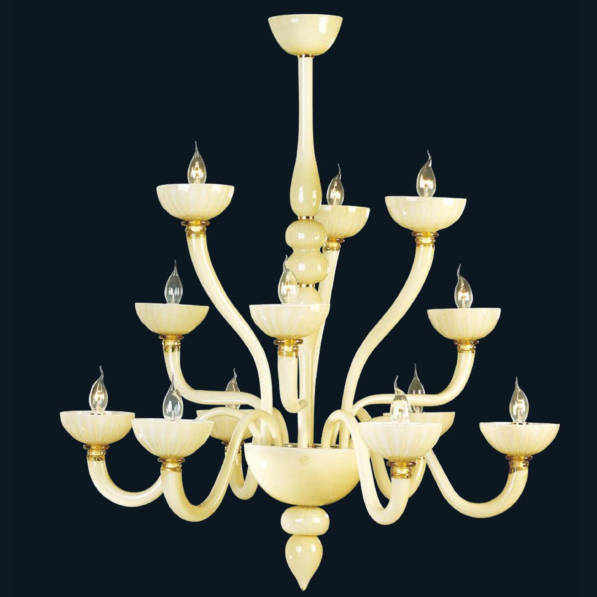 """""""Fateh"""" lustre en cristal de Murano - 6+3+3 lumière - blanc"""