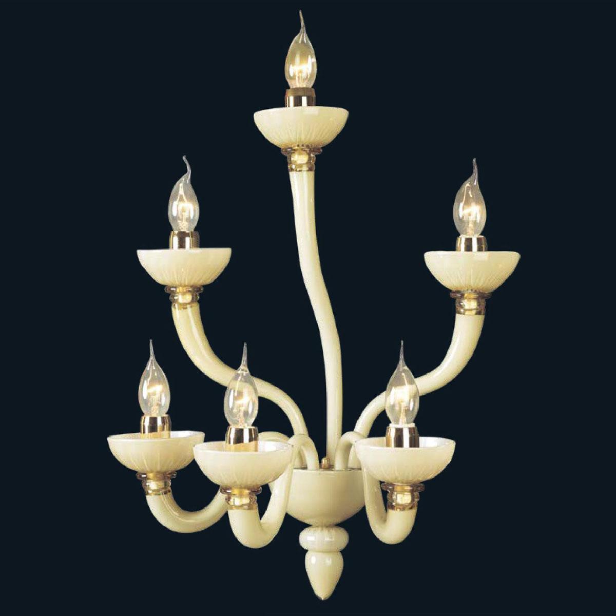 """Fateh"" Murano glass sconce - 3+2+1 lights - white"