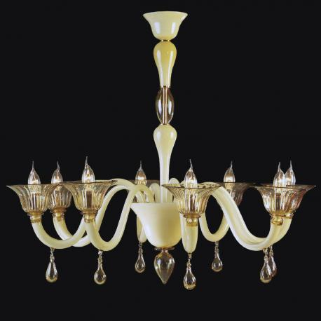 """Jaye"" Murano glass chandelier - 8 lights -white"