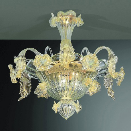 Flora 6 lights Murano ceiling lamp transparent gold color