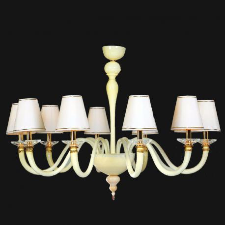 """""""Leanna"""" Murano glass chandelier with lampshades - 10 lights - white"""