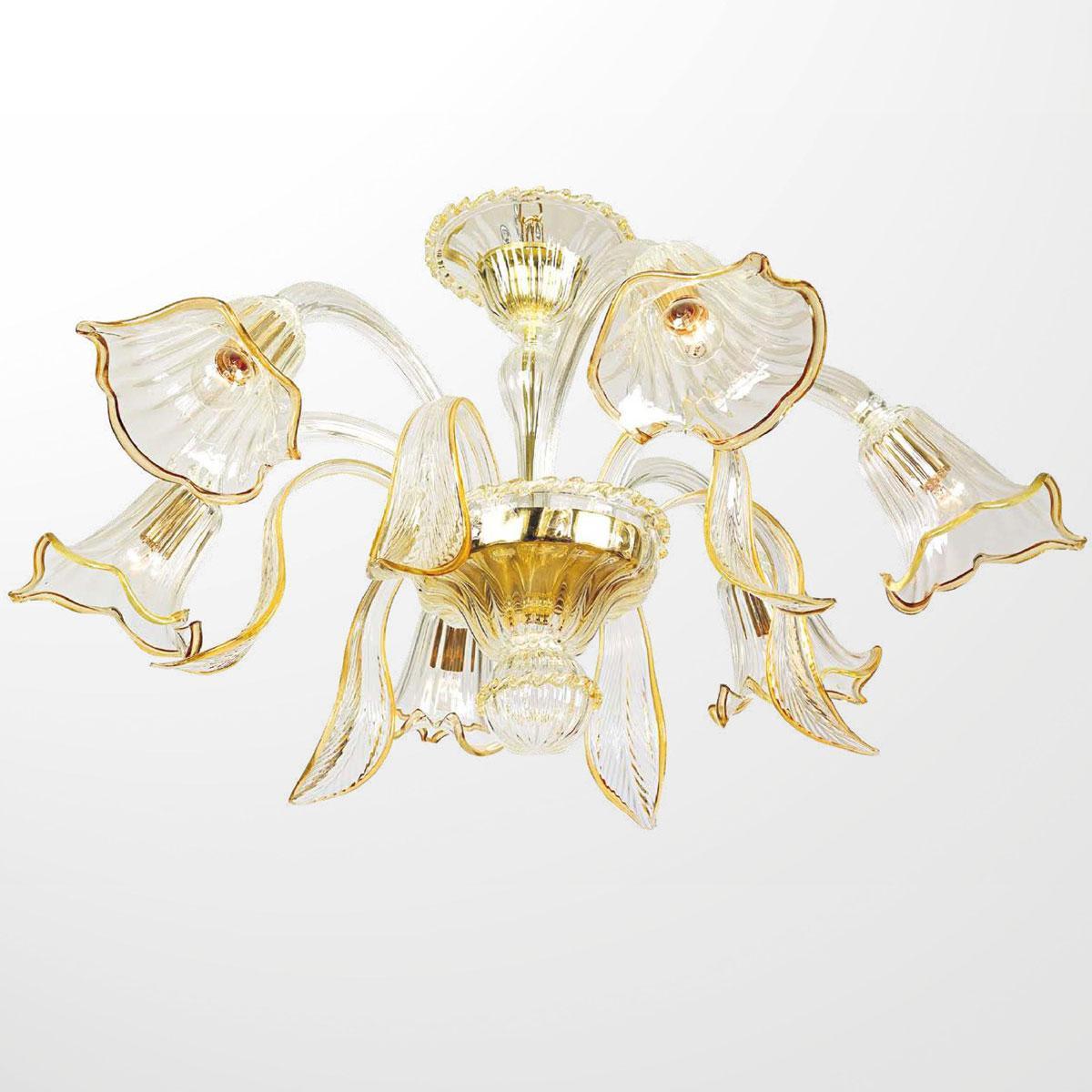 """""""Annika"""" lustre en cristal de Murano - 6 lumières - transparent et ambre"""