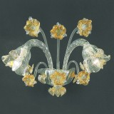 Flora 2 lights Murano sconce - transparent gold color