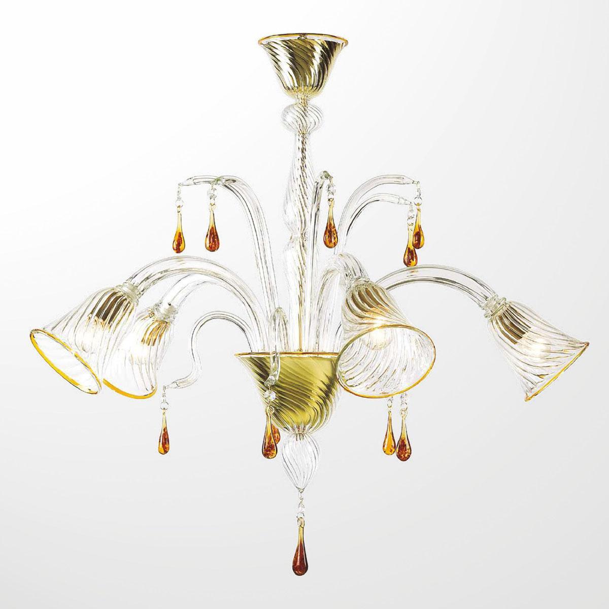 """""""Crista"""" lustre en cristal de Murano - 5 lumières - transparent et ambre"""