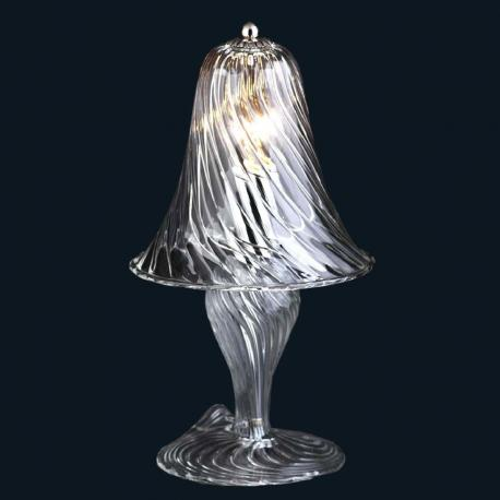 """Crista"" Murano glass bedside lamp - 1 light - transparent"