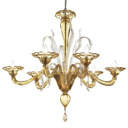 Colombina 6 lights Murano chandelier amber color
