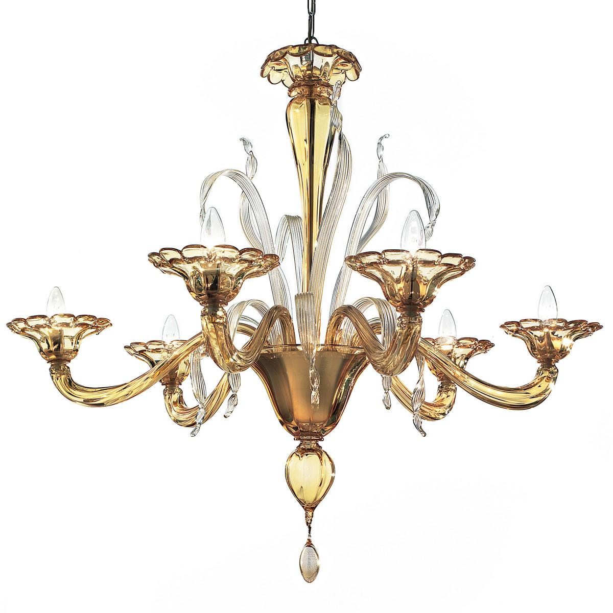 Colombina 6 lumières Murano Lustre couleur ambre