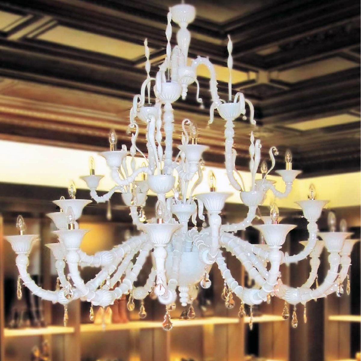 """""""Columbus"""" lampara de araña de Murano - 12+6+6 luces - blanco"""
