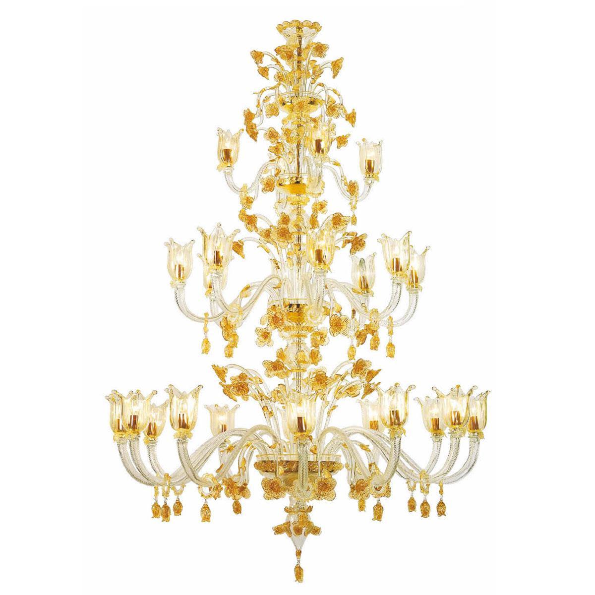 """""""Stevie"""" lustre en cristal de Murano - 12+8+4 lumière - transparent et or"""