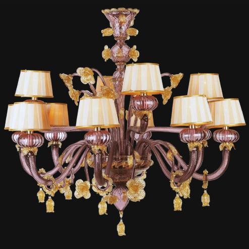 """""""Edgar"""" lustre en cristal de Murano avec abat-jour - 8+4 lumière - améthyste et or"""