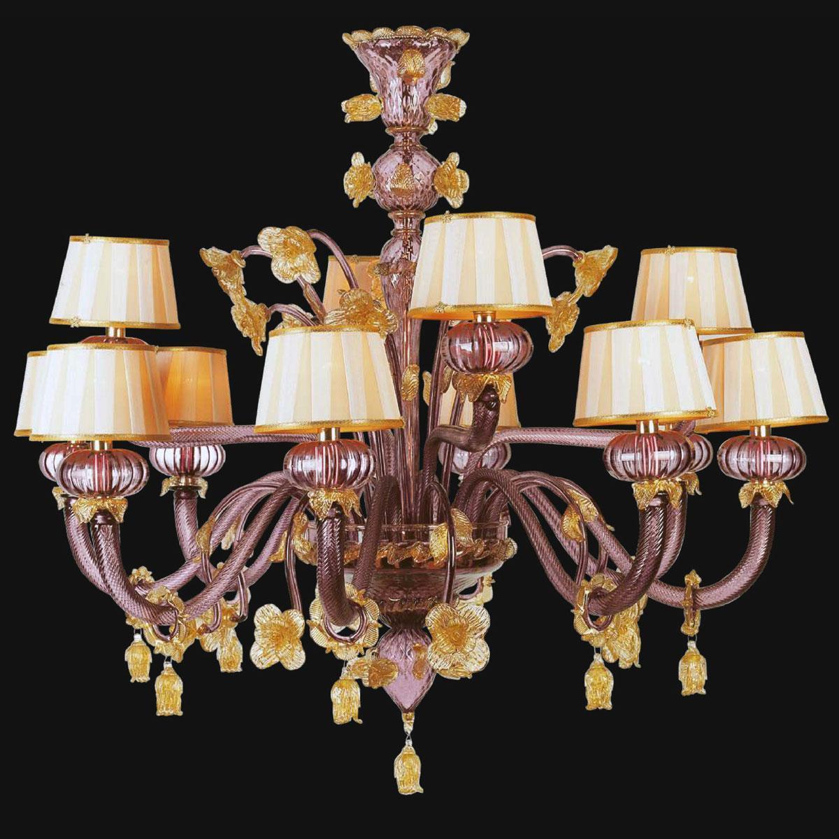 """""""Edgar"""" Murano glas Kronleuchter mit lampenschirmen - 8+4 flammig - amethyst und gold"""