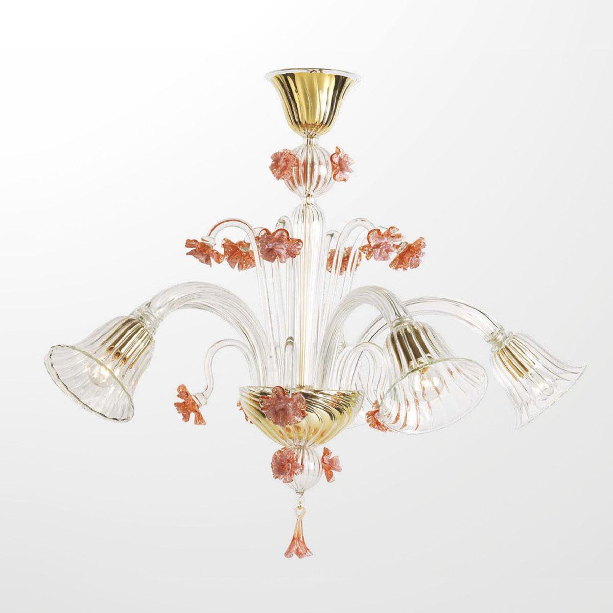 """""""Megan"""" lampara de araña de Murano - 5 luces - transparente y rosa"""