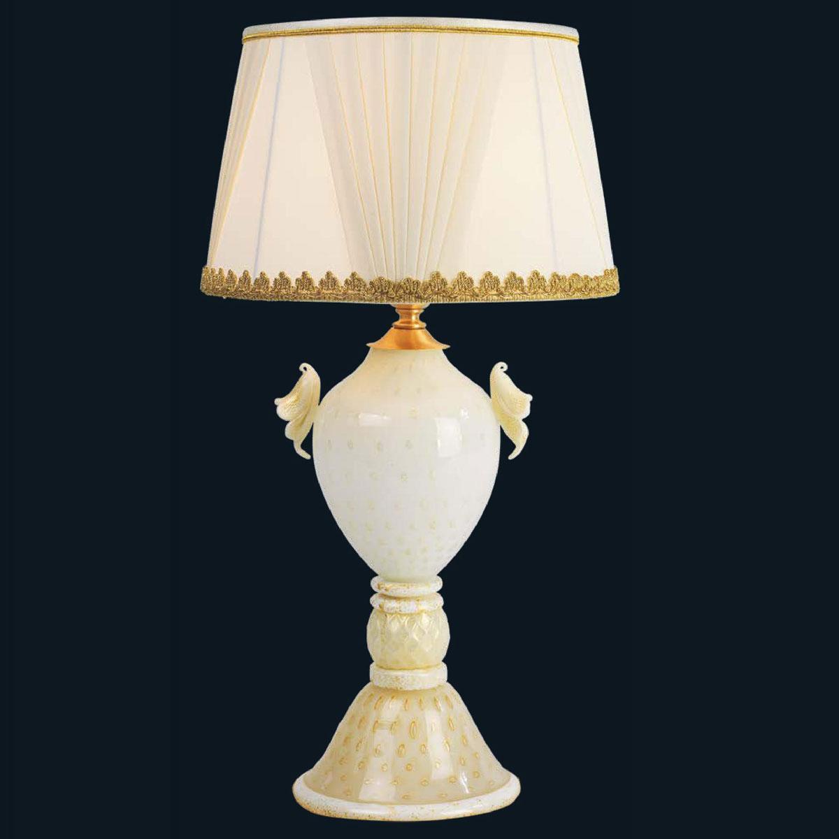 """""""Kelsie"""" lampe de chevet en verre de Murano - 1 lumière - blanc et or"""