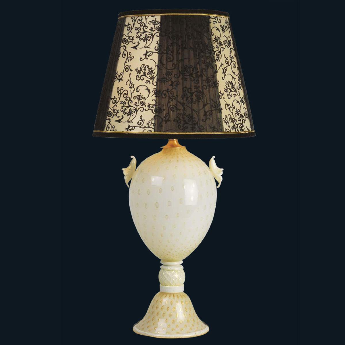 """""""Kelsie"""" lampe de table en verre de Murano - 1 lumière - blanc et or"""