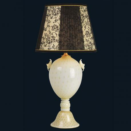 """Kelsie"" Murano glass table lamp  - 1 light - white and gold"