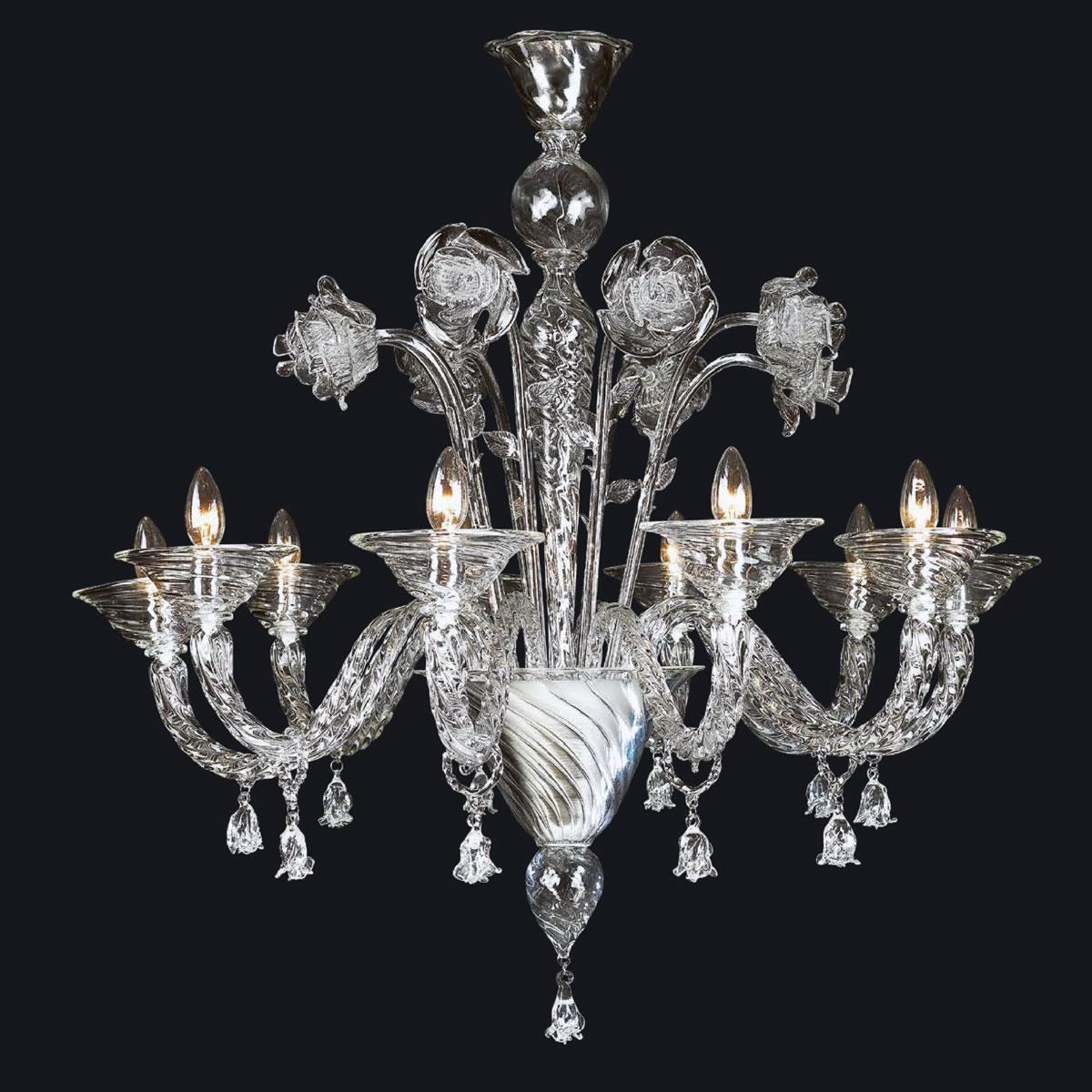 """""""Wendy"""" lustre en cristal de Murano - 10 lumières - transparent"""
