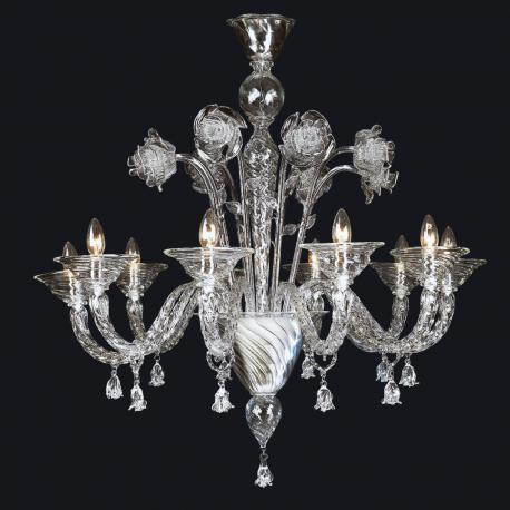 """Wendy"" Murano glass chandelier - 10 lights - trensparent"