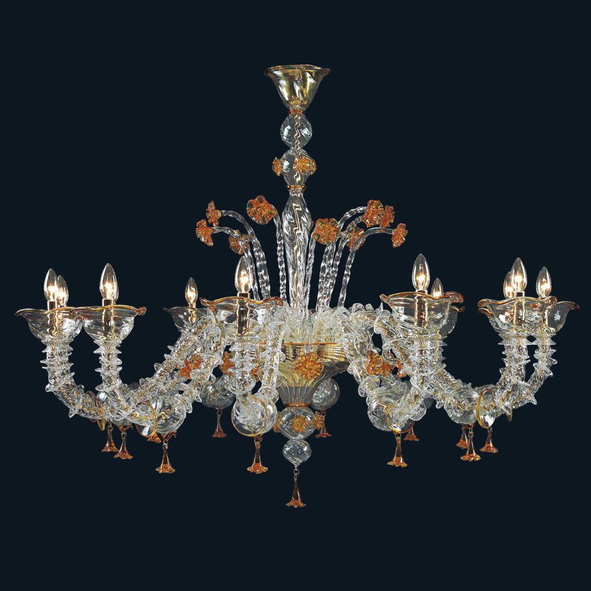 """Skylah"" Murano glass chandelier - 12 lights - transparent and amber"