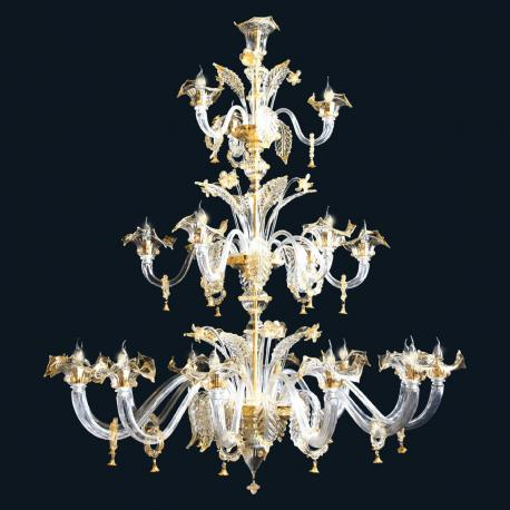 """Harvie"" Murano glass chandelier - 12+6+3 lights - transparent and gold"