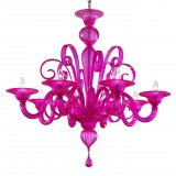 """Goldoni"" fuchsia Murano glass chandelier"