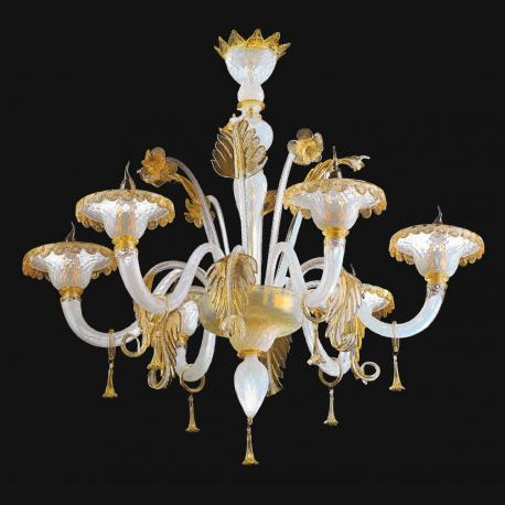 """Siyana"" Murano glass chandelier - 6 lights - white and gold"