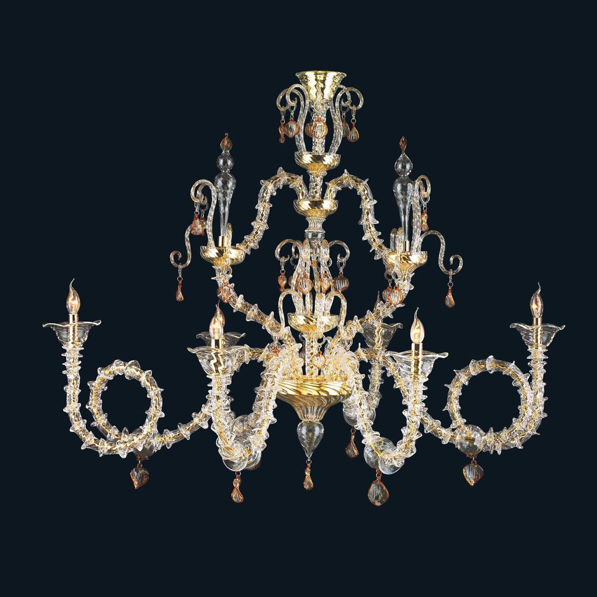 """""""Malachy"""" lustre en cristal de Murano - 6 lumières - transparent et ambre"""