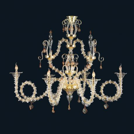 """""""Malachy"""" Murano glass chandelier - 6 lights - transparent and amber"""