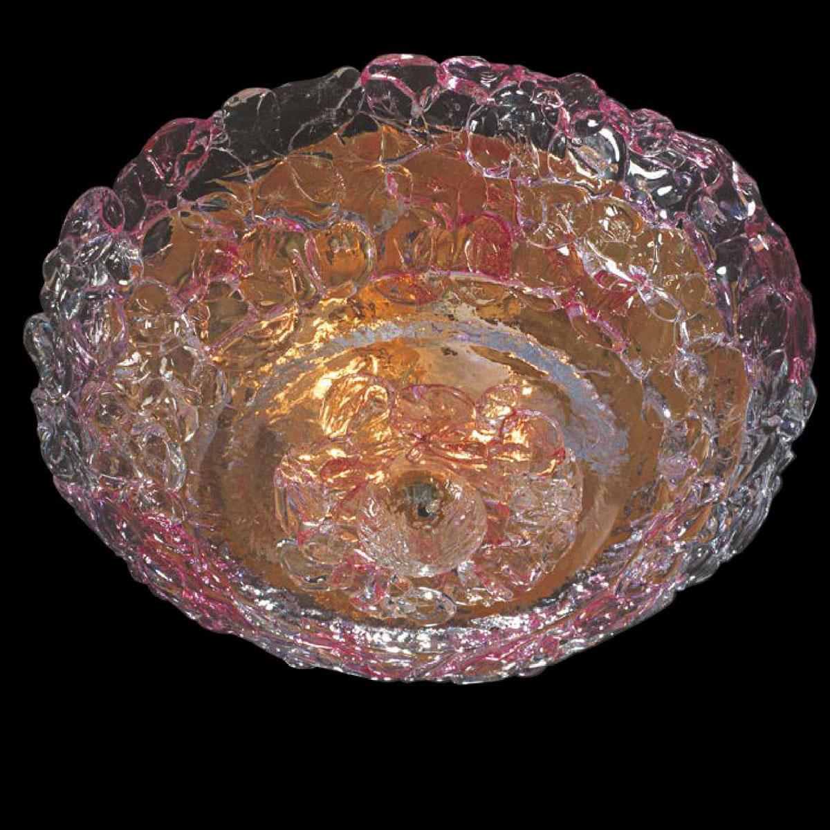 """""""Xander"""" lampara de techo de Murano - 4 luces - transparente y rosa"""