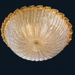 """Jamie"" Murano glass ceiling light - 2 lights - transparent and amber"