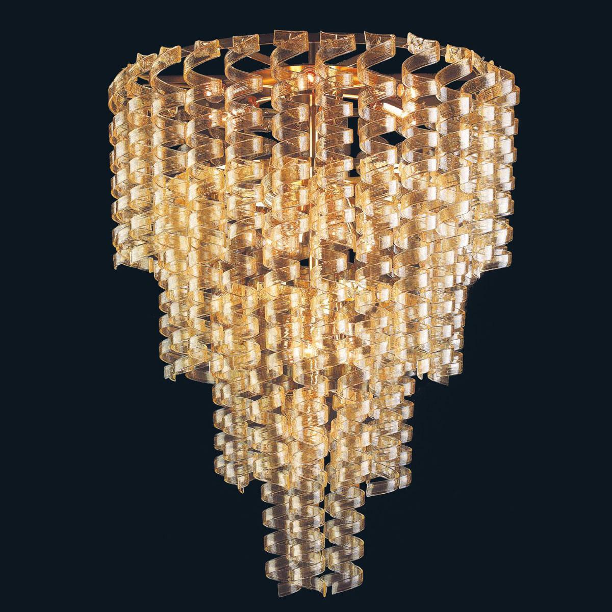 """Adison"" Murano glass pendant light - 13 lights - gold"