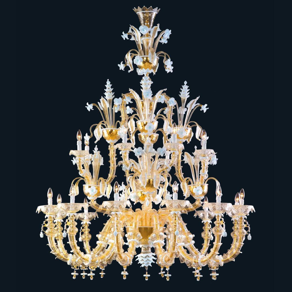 """""""Sierra"""" lampara de araña de Murano - 12+8 luce - oro y blanco"""