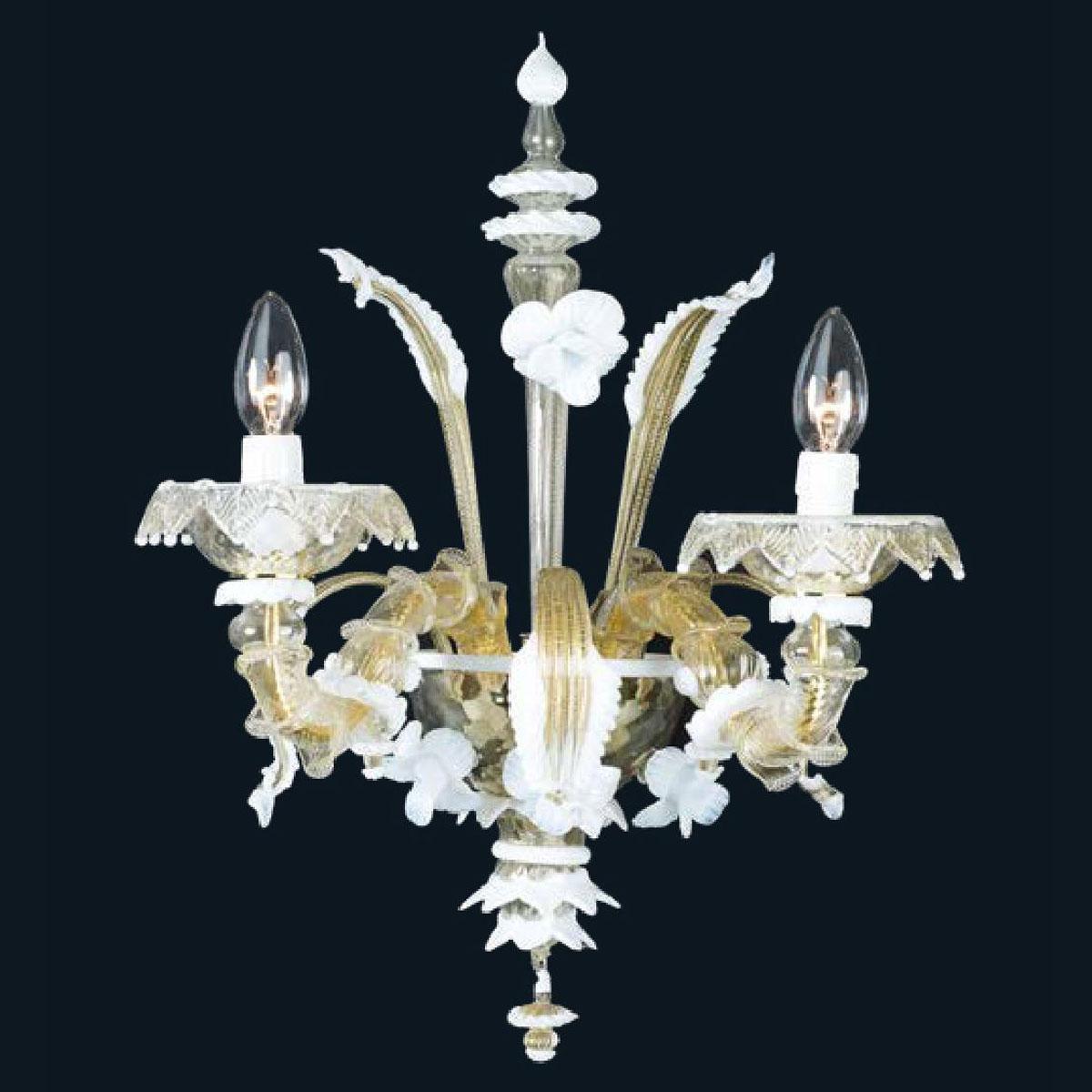 """""""Sierra"""" applique en verre de Murano - 2 lumières - or et blanc"""
