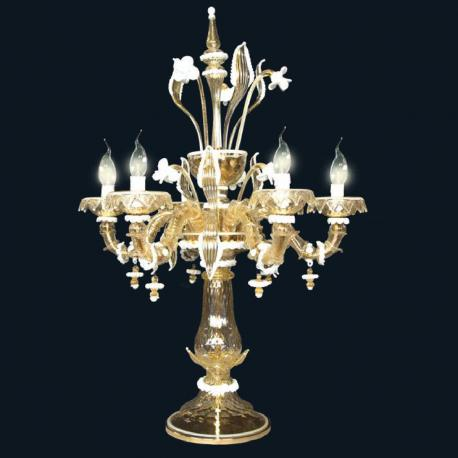 """Sierra"" Murano glass table lamp - 6 lights - gold and white"