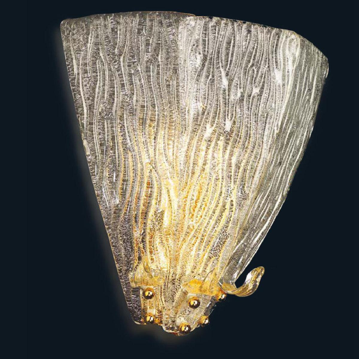 """Josef"" aplique de pared de Murano - 2 luces - transparente y oro"