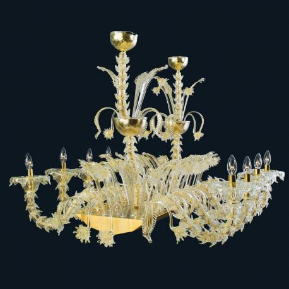 """Alvin"" lustre en cristal de Murano - 8 lumières - or"