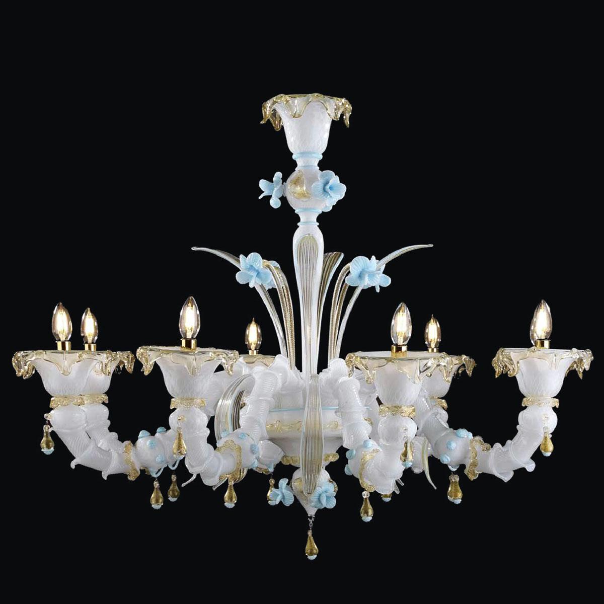 """Leja"" Murano glass chandelier  - 8 lights - white and gold"