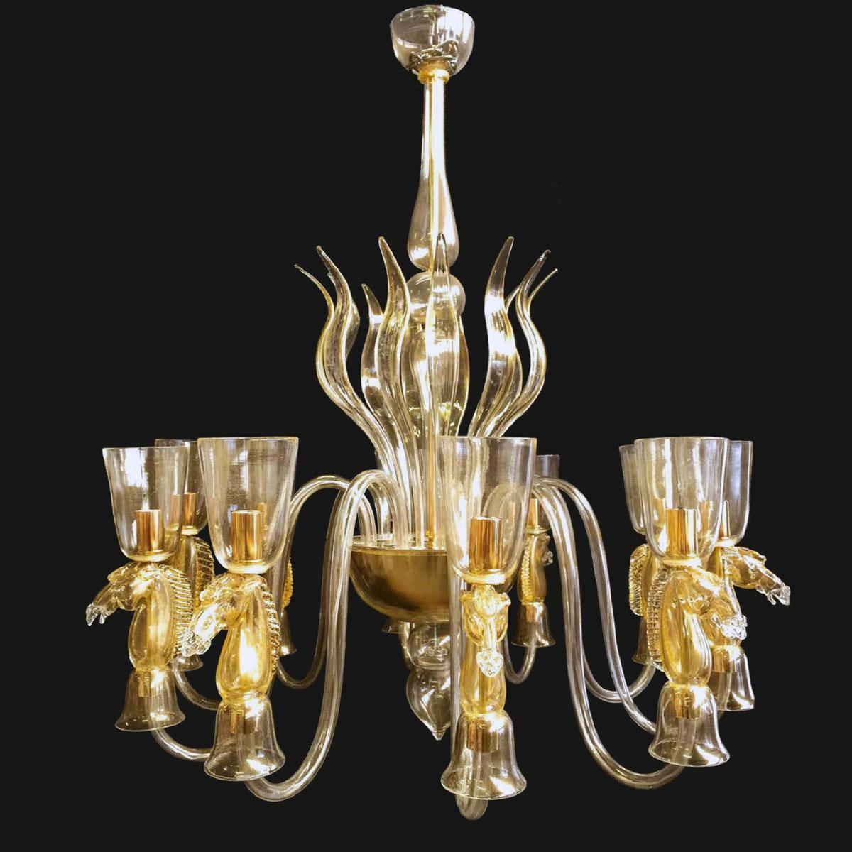 """""""Delilah"""" lustre en cristal de Murano - 10 lumières - or"""