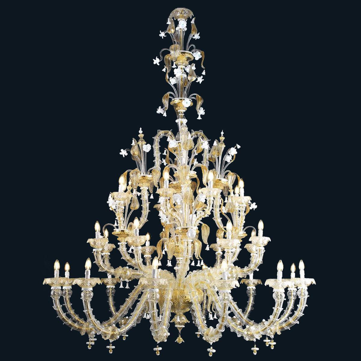 """""""Eilidh"""" lustre en cristal de Murano - 12+8+8 lumières - or et blanc"""