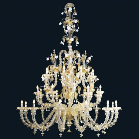 """Eilidh"" Murano glass chandelier - 12+8+8 lights - gold and white"